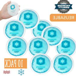 10 PacK Reusable IceWraps Round Small Gel Hot cold Ice Pack