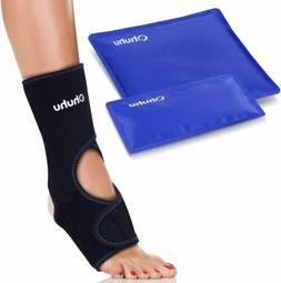 2-Pack Hot Cold Gel Ice Packs with Foot & Ankle Ice Wrap of
