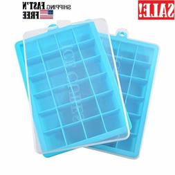 2 Pack Ice Cube Trays with Lid, Silicone Ice Tray Molds Easy