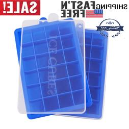 2 Pack Ice Cube Trays with Lids, 24 Cube Food Grade Silicone