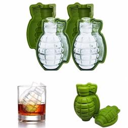 2 Pack Silicone Ice Cube Mold Tray Large 3D Shape Grenade Wh