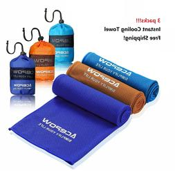 3 Pack Ice Cold Instant Cooling Towel Running Jogging Gym Ch
