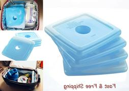 4 Fit & Fresh Slim Reusable Ice Packs for Lunch Boxes, Lunch