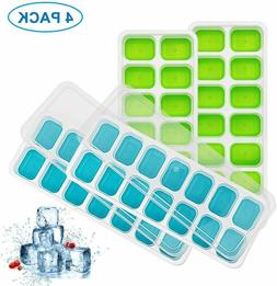 4 Pack Silicone Ice Cube Trays with Lid, Easy-Release Ice Cu