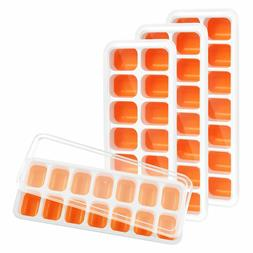 4 Pack Silicone Ice Cube Trays with Lid - BPA Free 56-Ice Cu