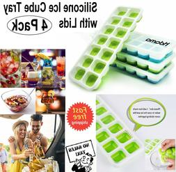 4 Pack Silicone Trays Ice Cubes Shape Molds Square Cube Tray