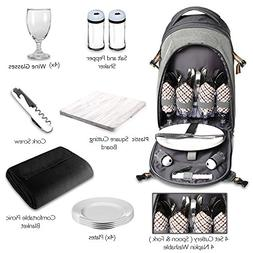 Scuddles 4 Person Picnic Backpack - with Solid Stainless Ste