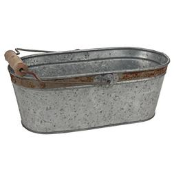 Stonebriar Small Aged Galvanized Metal Oval Bucket with Rust