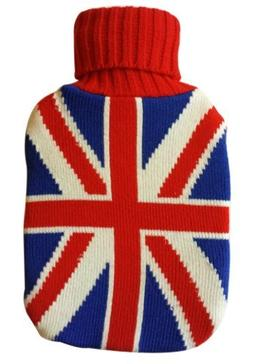 Warm Tradition British Flag Knit Covered Hot Water Bottle -