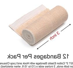 "GT 3"" Cotton Elastic Bandage with Hook & Loop Closure on bot"