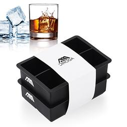 Adoric Easy Release Silicone Ice Cube Trays Set of 2, Large