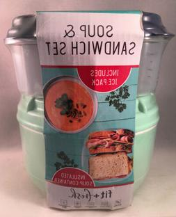 Fit + Fresh ~ Soup & Sandwich Lunch Box Containers ~Insulate
