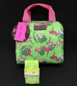 Betsey Johnson Flamingos Insulated Lunch Bag Tote W/ Ice pac