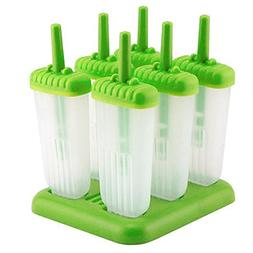 KINGZHUO Pack of 6 Green Ice Pop Maker Popsicle Mold Set wit