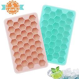 Adoric Ice Cube Trays 2 Pack, Easy-Release Silicone Honeycom