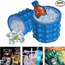 2 Pack Ice Cube Maker Genie Silicone Ice Cube Trays Molds Ic