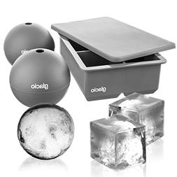 glacio Ice Cube Molds - Jumbo Square Cube Tray with Lid and