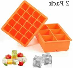 Ice Cube Tray, 2 Pack Silicone Ice Cube Molds 6+20 Large & S