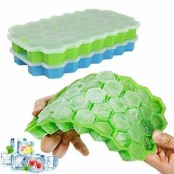 Ice Cube Trays, 2 Pack Silicone Ice Cube Molds with Removabl