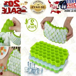 Ice Cube Trays, Wetong 2 Pack Silicone Ice Cube Molds With L