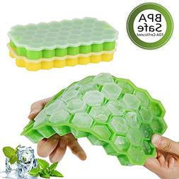Ice Cube Trays with Lids,Bomstar 2 Pack Food Grade Silica Ge