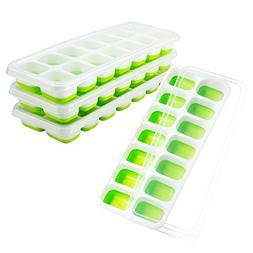 OMorc Ice Cube Trays 4 Pack, Easy-Release Silicone and Flexi