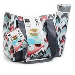L.O.G.T Insulated Lunch Bag 7 Pc. Kit Chevron Style - BPA Fr