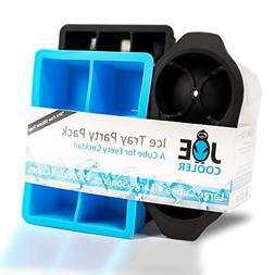 Joe Cooler Party Pack Silicone Ice Cube Molds, 3 Pack of Dif