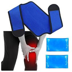 Knee Ice Wrap Cloth with 2 Gel Pack - Removable Gel Pack and
