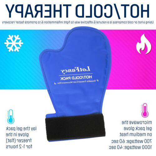 1 Pair Hot Cold Therapy Reusable Ice Gloves Hands Wrists Fingers