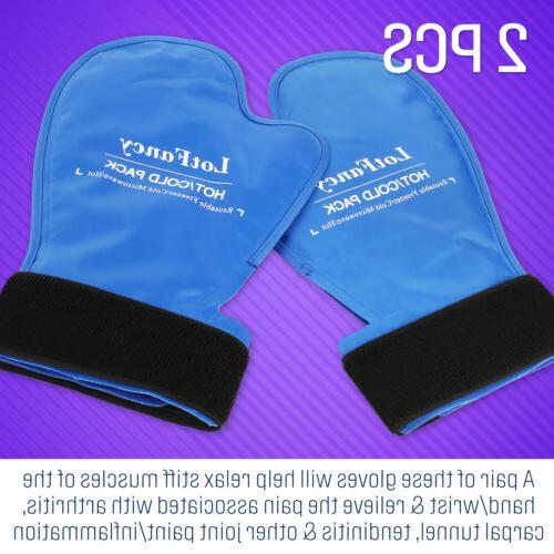 1 Pair Hot Cold Therapy Reusable Ice Gloves For Wrists Fingers