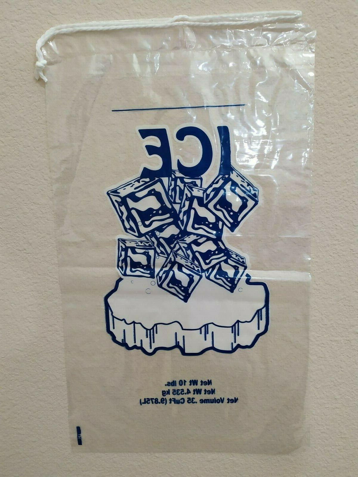 10 Commercial Ice Bags Drawstring 10/25/50/100/150/200/.../500/1000