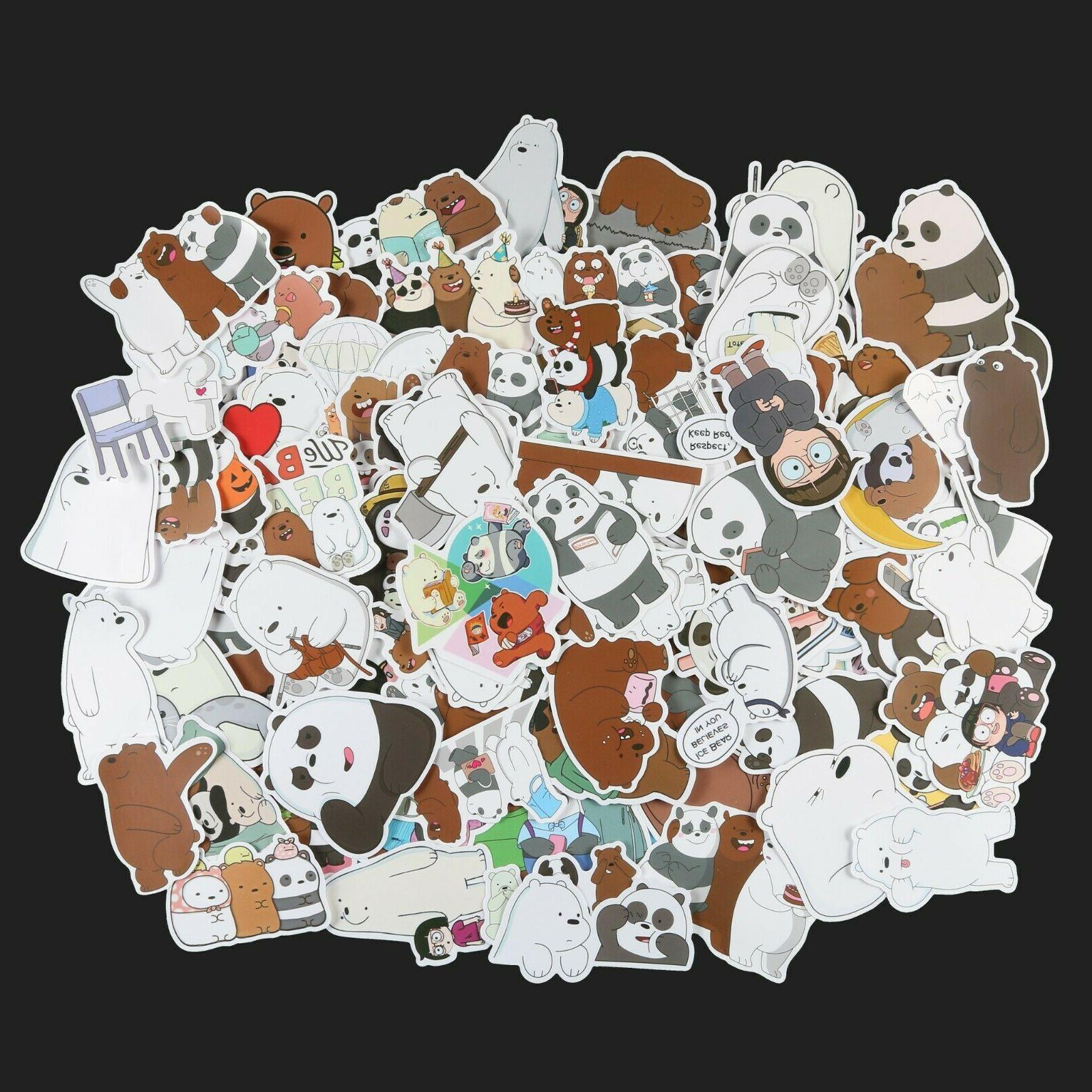 100pcs We Bare Bears Stickers Pack, Ice Stickers, Cute