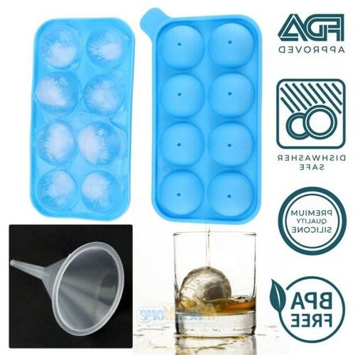 10x Round Silicon Ice Ball Tray 8 Molds with Funnel