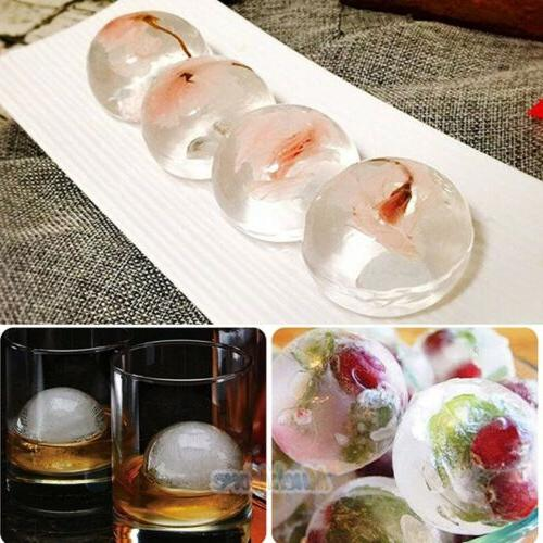 10x Round Silicon 4cm Ice Cube Tray 8 Sphere with Free