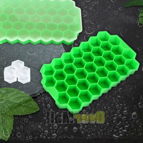2Pack Honeycomb Cube Tray Silicone Frozen Ice Mold Maker New