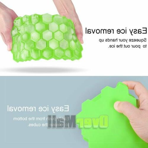 2Pack Honeycomb Shape Cube Tray Silicone Frozen Maker New