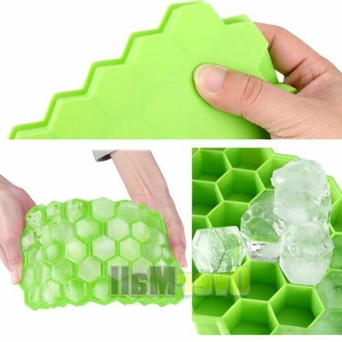 2Pack Shape Cube Tray 37Cubes Silicone Frozen New