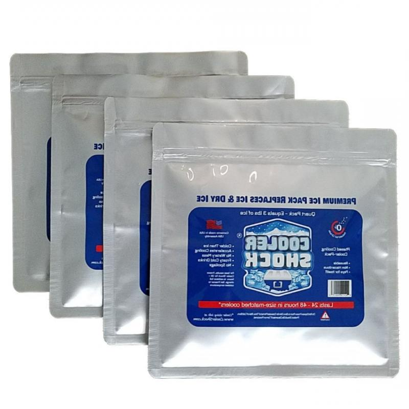 "Cooler Shock 4 Mid Size Freeze Packs 10""x 9"" - No More Ice!"