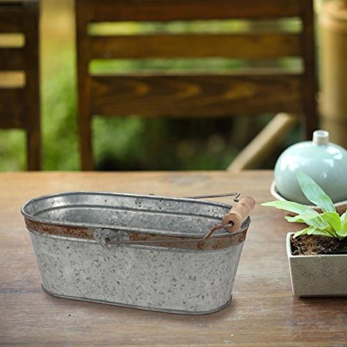 Stonebriar Small Metal Rust and Handle, Country Rustic Home Organization, Bathroom Storage, Party Decorations