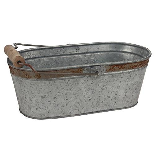 aged galvanized oval bucket