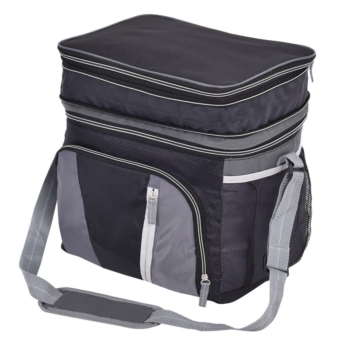 Double-layer 24 Can Ice Lunch Container Zipper Straps