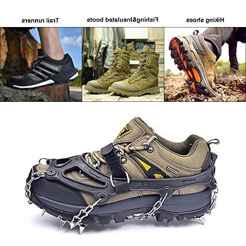 Leanking Snow Traction Cleats with 18 Spikes Walking, Jogging, and Hiking Snow, Mud, Sand and Grass