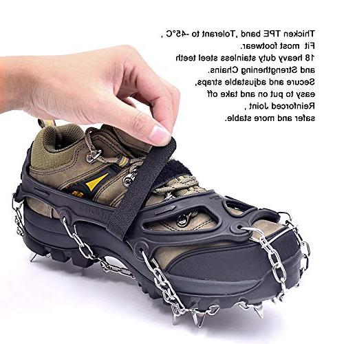 Leanking Ice Snow Traction Cleats with 18 Walking, Hiking Ice, Mud, Sand and Grass