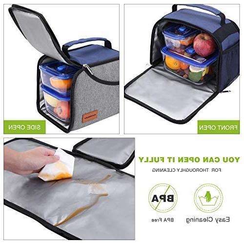 Insulated Lunch Bag, Expandable Lunch Tote Bag Bento Organizer for Boys Office/School/Picnic/Camping, Hot & Cold