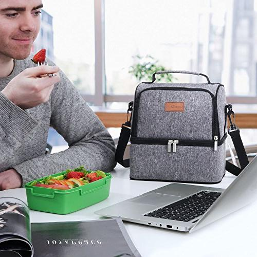 Lifewit Lunch Bag for Water-Resistant Prep, Dual Compartment, 7L, Grey