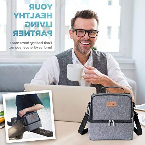 Lifewit Lunch for Adults/Men/Women, Water-Resistant Soft Bento Work/School/Meal Prep, Compartment, Grey