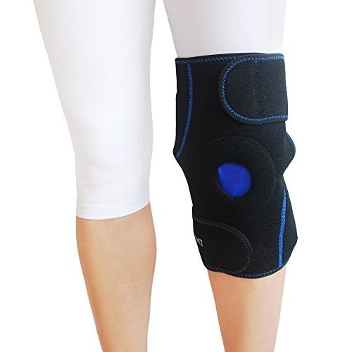 Knee Ice Wrap by Cold Brace Sleeve for Pain Relief, Meniscus Arthritis, & Swelling