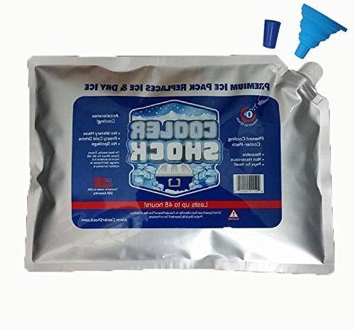 "Cooler Shock 3X Zero°F Cooler Freeze 10""x14"" Ice Replaces Ice is Reusable - Easy Fill Water 12lbs Total"