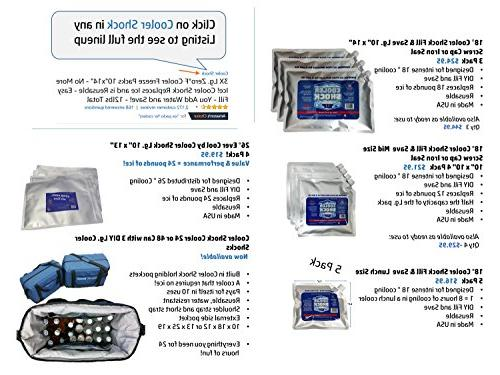 """Cooler 3X Lg. Zero°F Cooler Freeze Packs 10""""x14"""" No Ice Replaces Ice is Water Save! - 12lbs"""